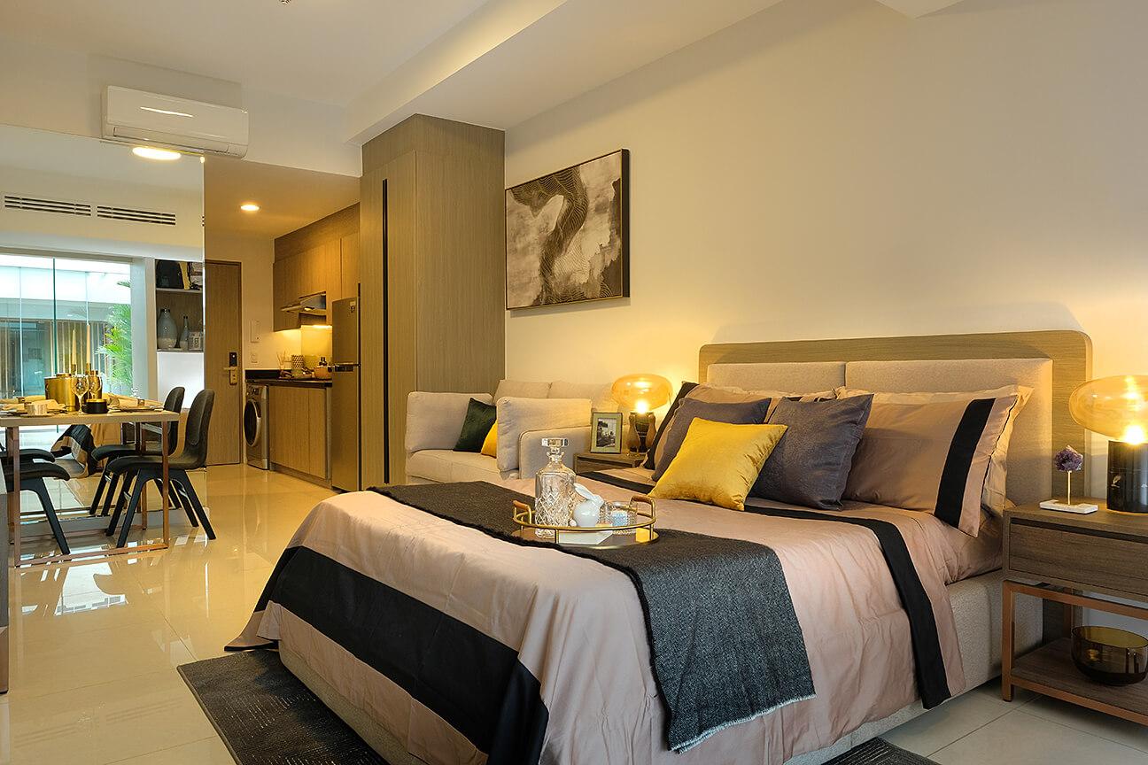 Mandani Bay's fully-furnished studio model unit